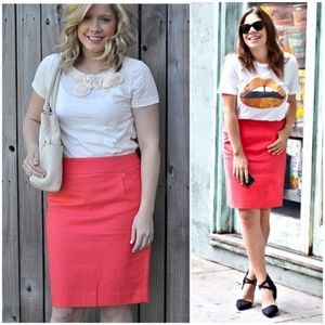 J. CREW Coral Double Serge Cotton Pencil Skirt 2